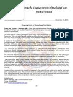 11-15-16 MKO MEDIA RELEASE - On-going Crisis in Shamattawa