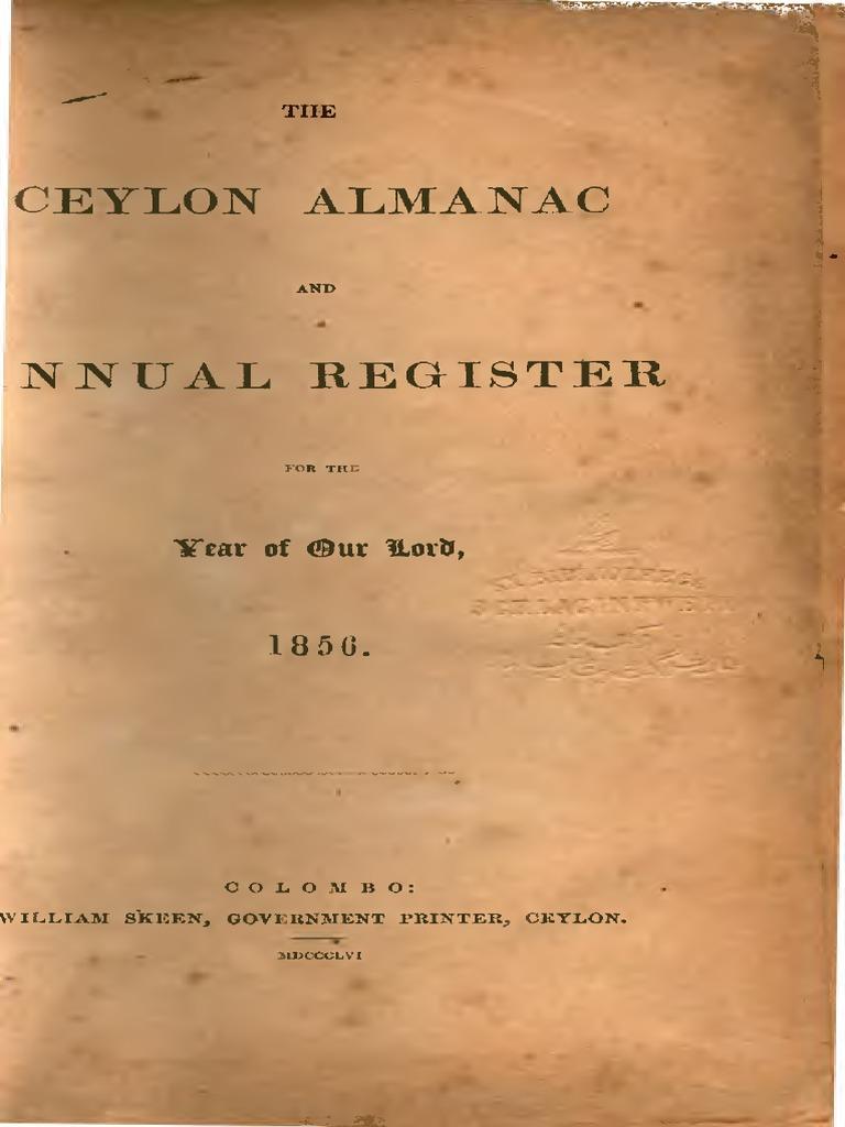 Ceylon Almanac And Annual Register 1856 William Skeen Government League Volans K 440 Printer Colombo Sri Lanka Mail