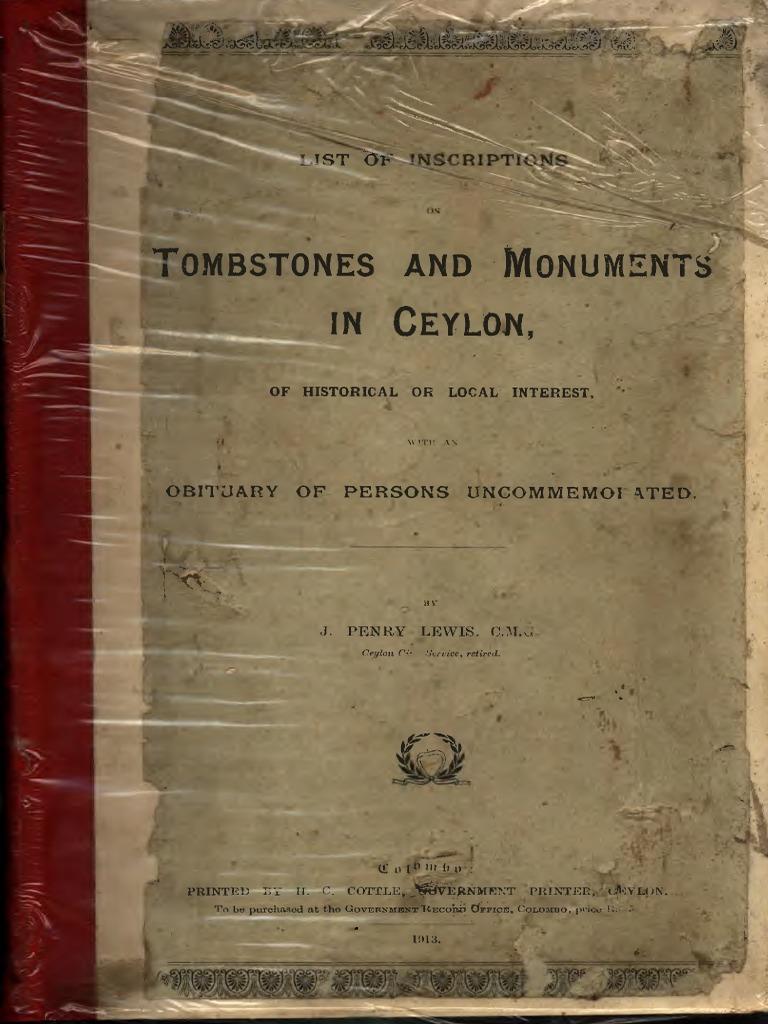 List of Inscriptions on Tombstones-And-monuments-In-ceylon c. m. Printed  Cottle Governmknt Printers Ceylon 1911 | Sri Lanka | Samuel Taylor Coleridge