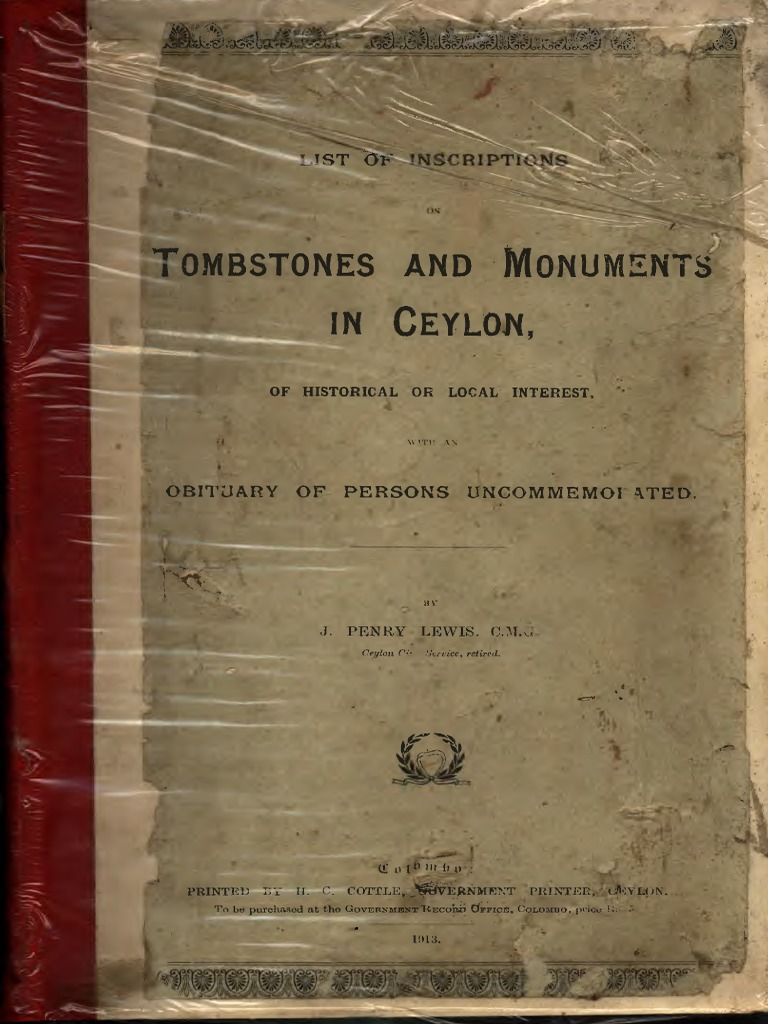 f942e7dc1 List of Inscriptions on Tombstones-And-monuments-In-ceylon c. m. ...
