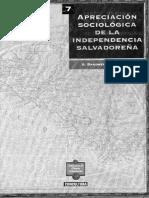 Apreciación Sociologica de La Independencia de El Salvador
