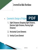 Transpo1-SightDistance Horizontal:Vertical Curve Elements