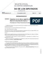 Proposición de Ley sobre la suspensión del calendario de la implantación de la Ley Orgánica 8/2013, de 9 de diciembre, para la Mejora de la Calidad Educativa (Orgánica).