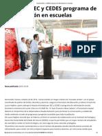 24/10/16 Impulsan SEC y CEDES Programa de Reforestación en Escuelas - TermómetroenLinea