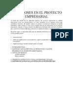 Inversiones en El Proyecto Empresarial