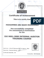 ISO 9001 Training Certificate