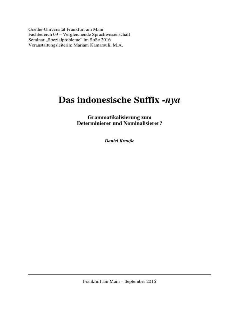 das indonesische suffix nya - Nominalisierung Beispiele