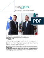 14.11.2016 Tribuna Noticias - Reconoce el presidente Varela a RMV- estoy seguro de que seguirá trabajando por su país