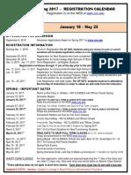 Spring Registration Calendar 2017