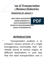 Application of Transportation Model in Business MAIN