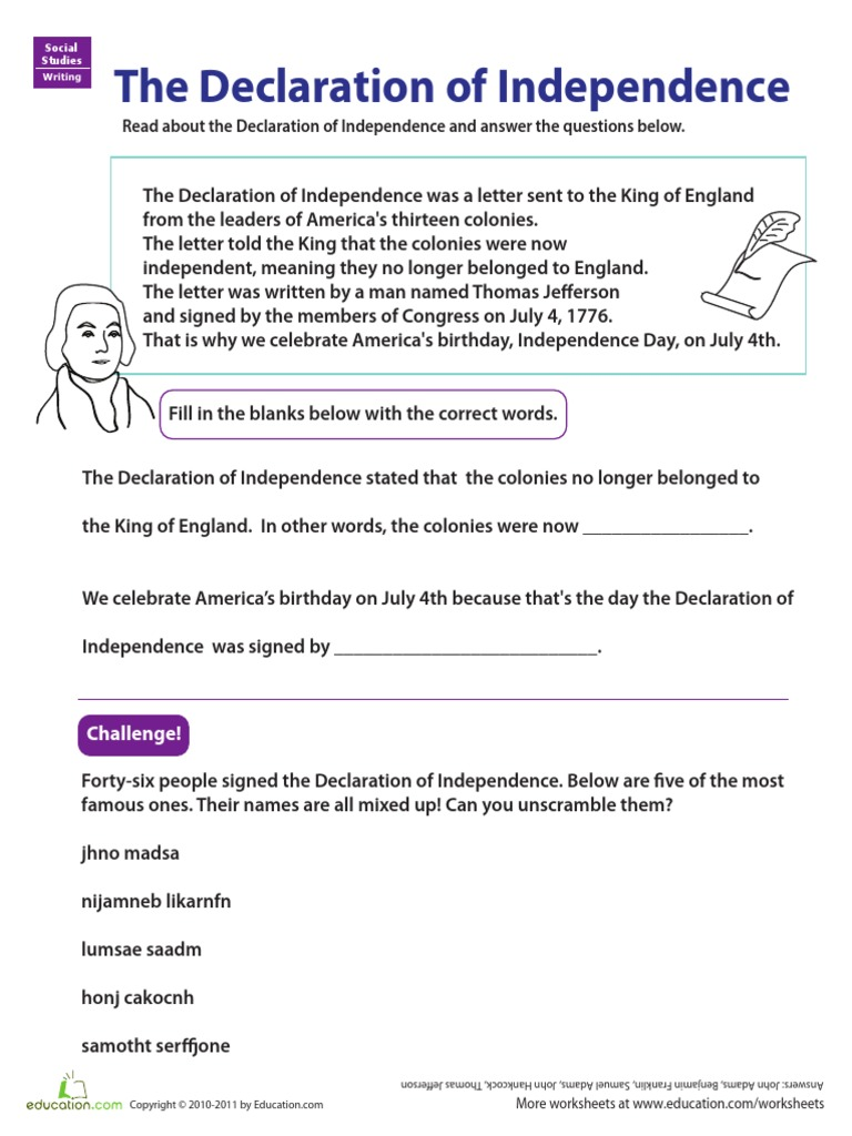 Uncategorized Declaration Of Independence Worksheet free worksheet declaration of independence worksheets learn independence