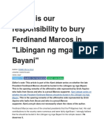 Why It is Our Responsibility to Bury Ferdinand Marcos In