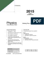 Sydney Grammar 2015 Physics Prelim HY & Solutions