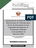 Tabla de Valores Para Vehiculos 2016