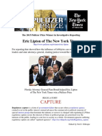 Eric Lipton-NYT 2015 Pulitzer Prize Winner in Investigative Reporting (Cover)