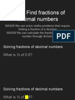 Copy of WALT Find Fractions of Decimal Numbers REVISED