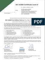 KEMA Certificate - 7SR11 and 7SR12 IEC 61850