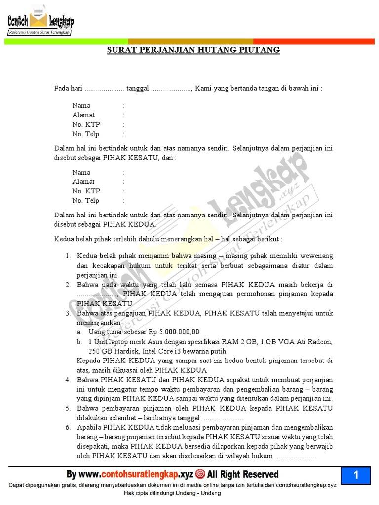 Contoh Surat Pernyataan Hutang Detil Gambar Online