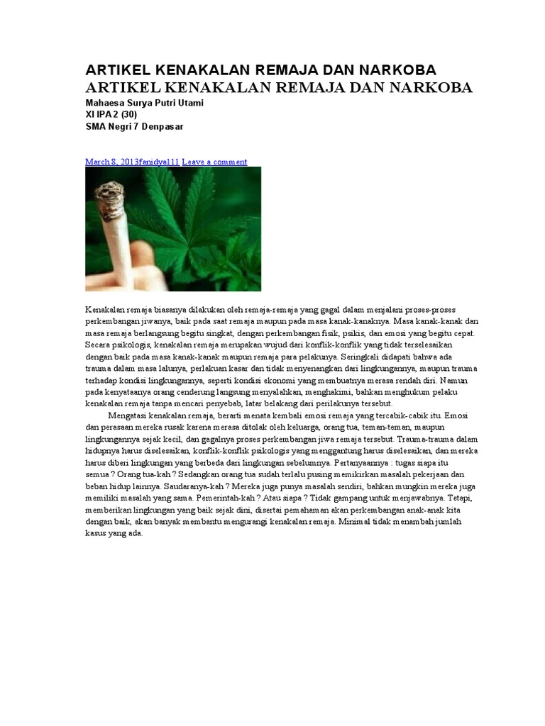 Artikel Kenakalan Remaja Dan Narkoba