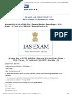 (Answer Key's) UPSC IAS (Pre