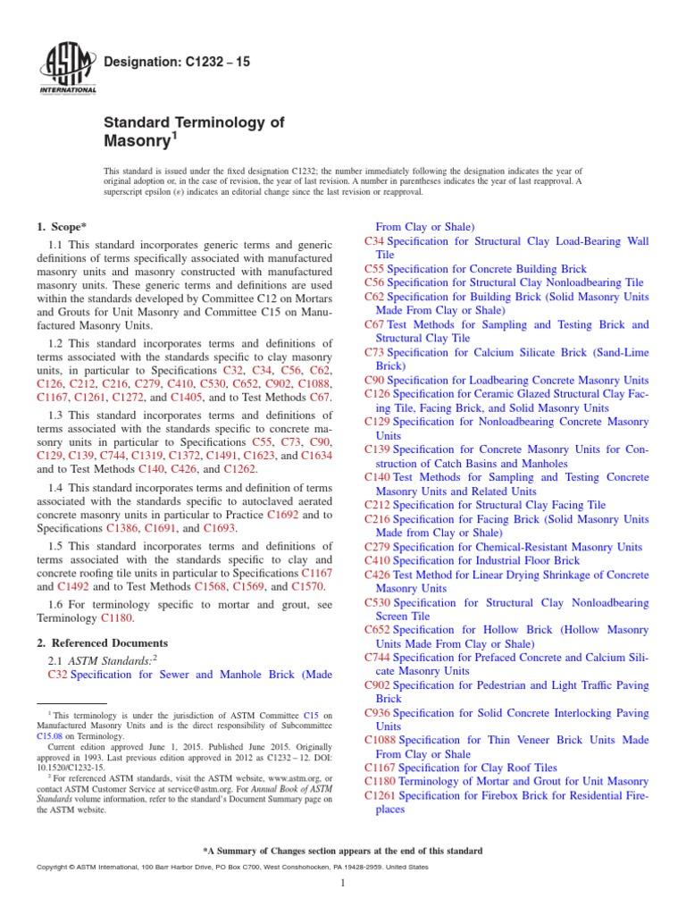 C1232 15 standard terminology of masonry brick masonry falaconquin