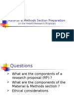 Material & Methods Section Preparation (in the Health Research Proposal)
