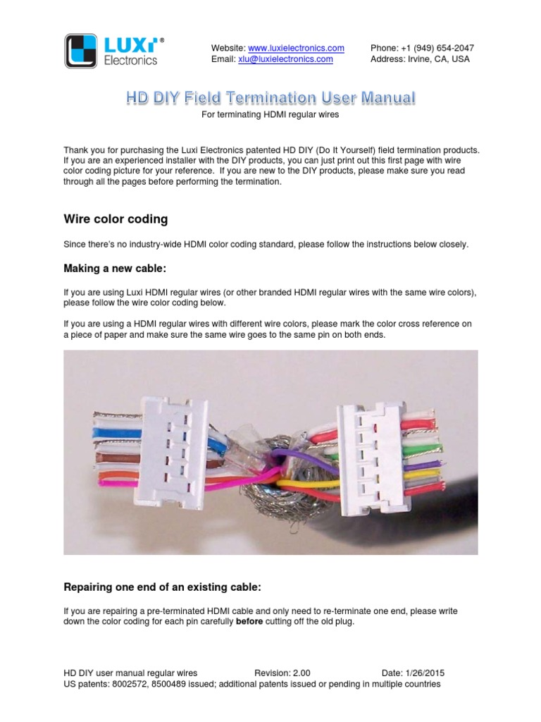 Luxi DIY Regular User Manual | Hdmi | Electrical Connector