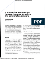Study of Relationship Between Cognitive Appraisal and Consumption Emotions
