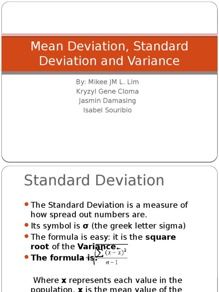 mean deviation standard deviation and variance standard deviation variance