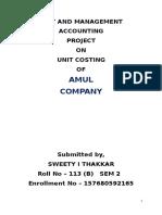 Amul Unit Costing Report