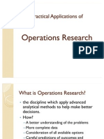 Practical Applications of Operations Research