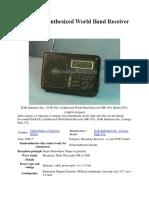 DAK MD-101 SW Radio Manual
