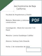 Block de Concreto Y 3D Panel