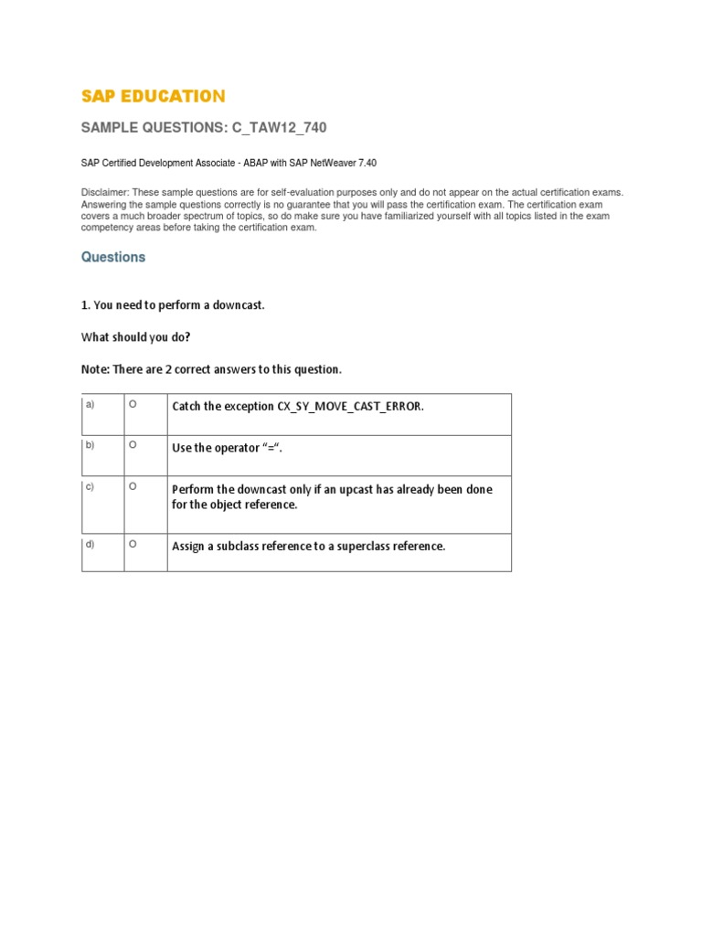 Abap Certification Questions Prepared By Mepdf Information
