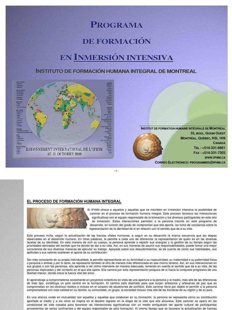 Instituto de Formación Humana Integral de Montreal - Programa de ...