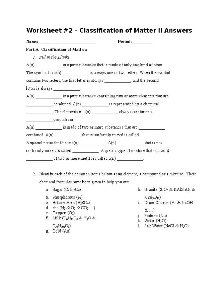 Classification of Matters Worksheet 2 Answers | Chemical Compounds ...
