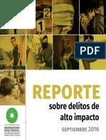 Reporte Mensual de Delitos de Alto Impacto, Septiembre 2016