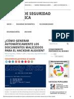 ¿Cómo Generar Automáticamente Los Documentos Maliciosos Para El Hackear Alguien