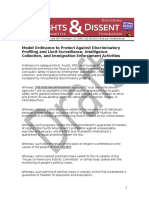 Model Ordinance to Protect Against Discriminatory Profiling and Limit Surveillance, Intelligence Collection, And Immigration Enforcement Activities