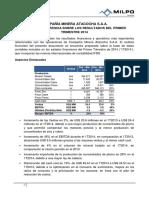 Informe de Gerencia Atacocha 1t2014