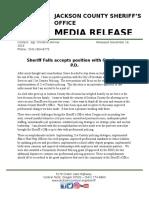 Sheriff Corey Falls is resigning