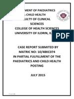 Case Report Department of Paediatrics
