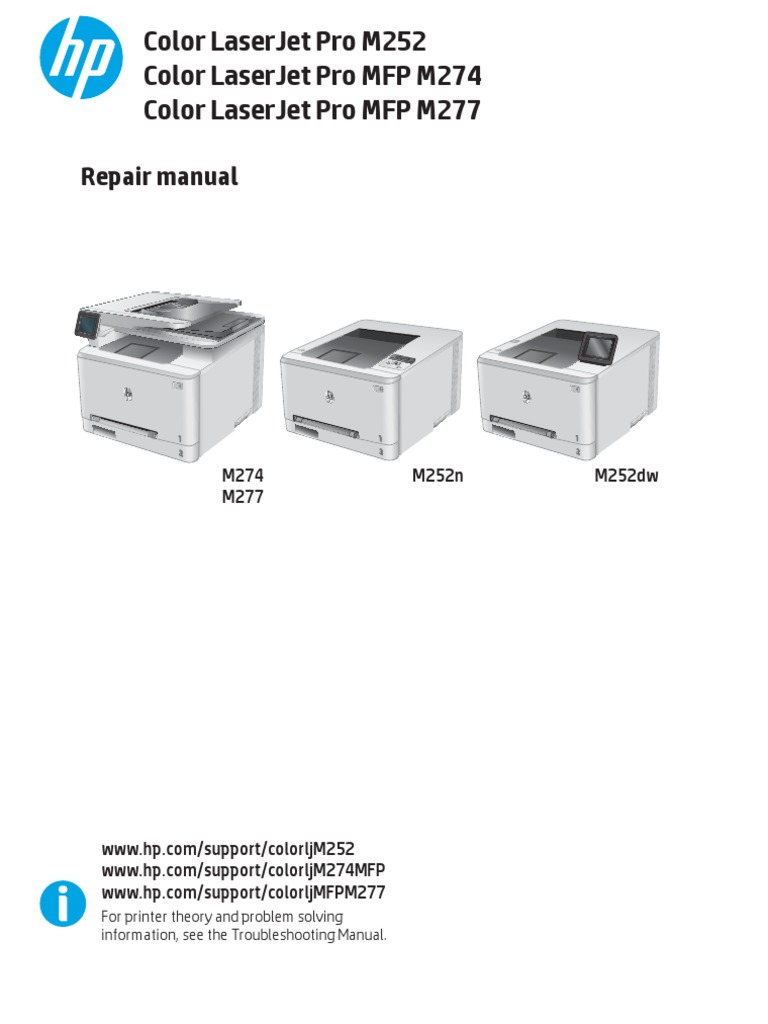 Hp Color Laserjet Pro M252 M274mfp M277mfp Repair Manual Copyright Office Equipment
