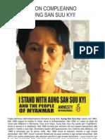 Il manifesto di Amnesty International Italia per il compleanno 65° di Aung San Suu Kyi