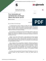 La Jornada- Trece Intoxicados Por Conta...n Causada Por Minera San Xavier en SLP