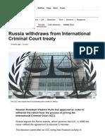Russia Withdraws From International Criminal Court Treaty - BBC News