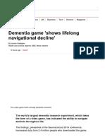 Dementia Game 'Shows Lifelong Navigational Decline' - BBC News