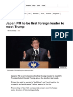 Japan PM to Be First Foreign Leader to Meet Trump - BBC News