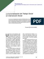Sabada La Burocratizacion Del Trabajo Social en Interencion Social
