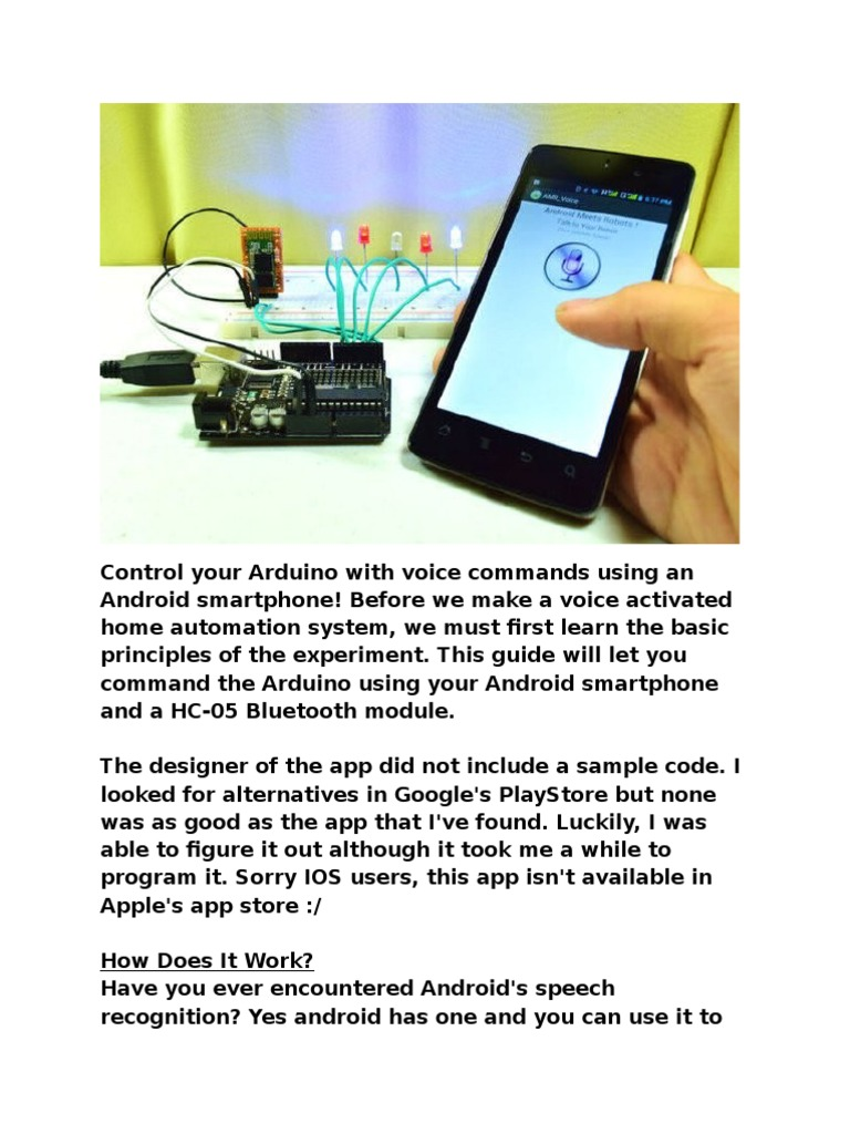 Control Your Arduino With Voice Commands Using an Android